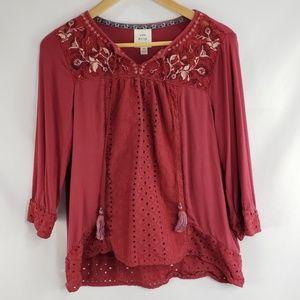 Knox Rose Tops - Knox Rose Red Boho Peasant Tassled Tunic